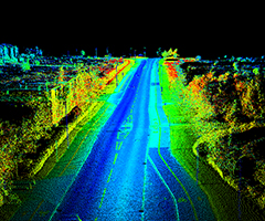 Road survey LiDAR / point cloud data obtained using a Dynascan S250 mounted on a vehicle